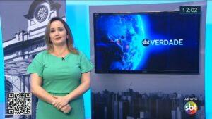 Silmara Moraes pediu para ir ao banheiro enquanto estava ao vivo no SBT de Ribeirão Preto (foto: Reprodução)