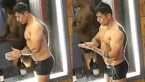 Tiago Piquilo tomou banho de sunga e fez questão de mostrar resultado de cirurgia íntima (foto: Record/Reprodução)