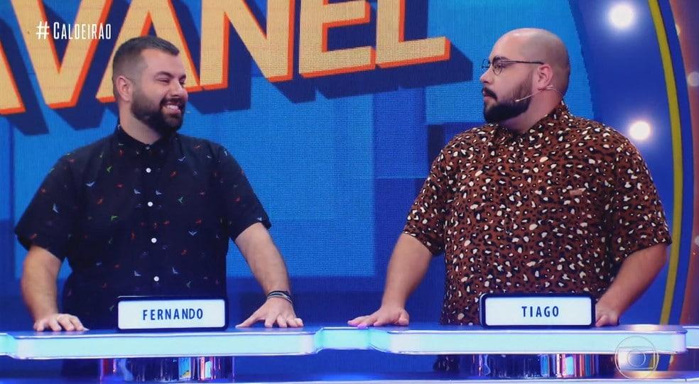 Imagem de Fernando Pole (à esquerda) e Tiago Abravanel durante participação no programa Caldeirão