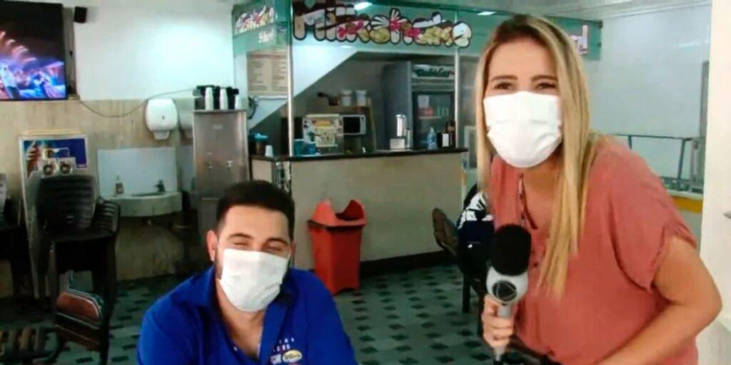 Anna Paula Lemos aproveitou reportagem para dar em cima de entrevistado (foto: Reprodução/Record)