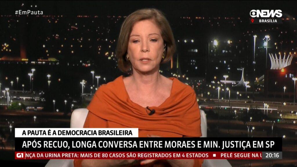 Celular de Eliane Cantanhêde tocou ao vivo durante o Em Pauta (foto: Reprodução/GloboNews)