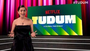 Maisa Silva no cenário do festival Tudum, da Netflix