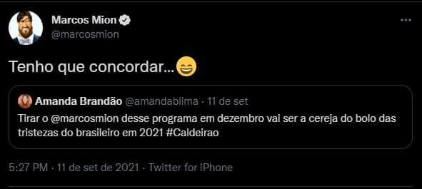 Marcos Mion admite que quer continuar no Caldeirão em 2022 (foto: Reprodução)