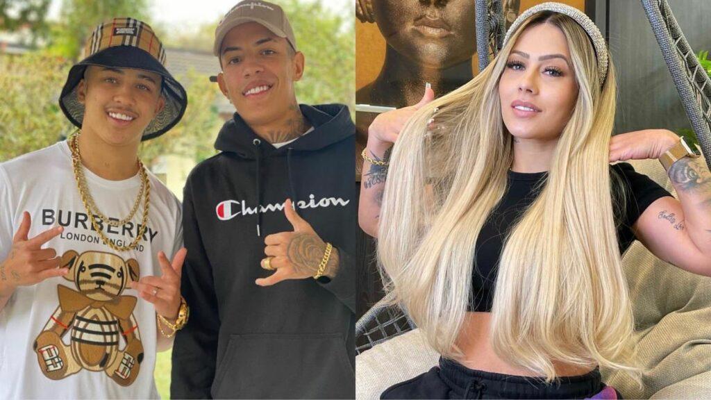Montagem de fotos de MC Don Juan, seu irmão e DJ Allana