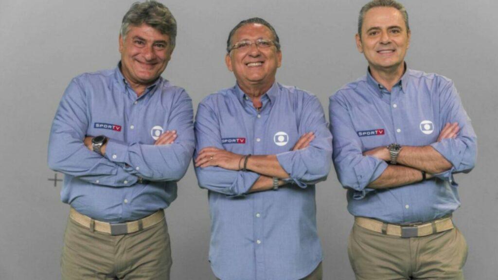 Os narradores Cleber Machado, Galvão Bueno e Luis Roberto; previsão da Globo é de faturamento bilionário com transmissão do futebol em 2022 (foto: Reprodução)