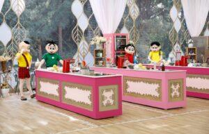Imagem dos personagens da Turma da Mônica na cozinha do Bake Off Brasil