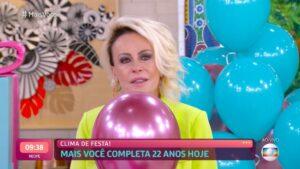Imagem da apresentadora Ana Maria Braga emocionada no Mais Você
