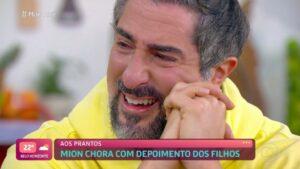 Imagem de Marcos Mion chorando durante entrevista para Ana Maria Braga no Mais Você