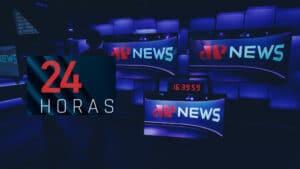 Imagem com vários monitores com o logotipo do canal Jovem Pan News