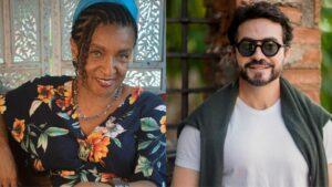 Foto da atriz Elisa Lucinda e do padre Fábio de Melo