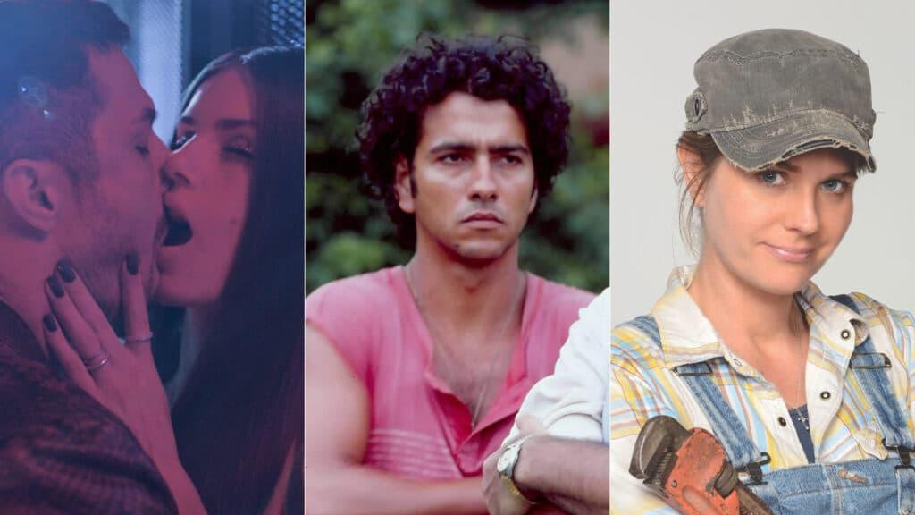 Imagem com montagem das fotos de personagens de Verdades Secretas, Renascer e Marido de Aluguel