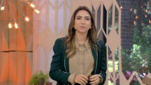 Patricia Abravanel no estúdio do Vem Pra Cá